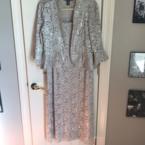 Dresses & Skirts - R &M long sequin beige formal dress size 14